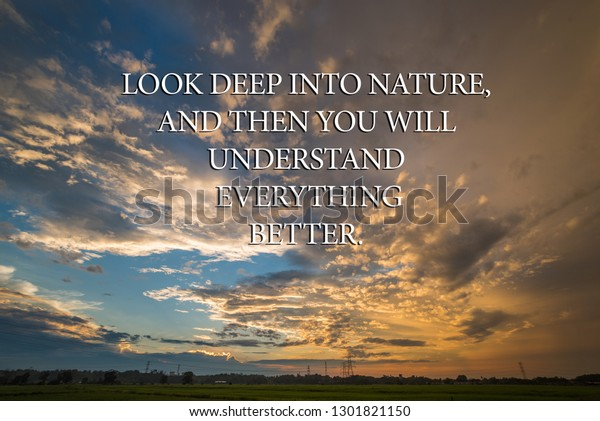inspirational quotes look deep into nature stock photo edit now
