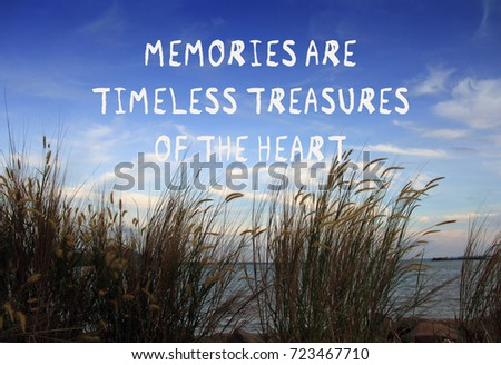 Inspirational Quotes Memories Timeless Treasures Heart Stockfoto Nu