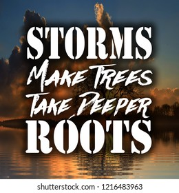 Inspirational Quotes Storms make trees take deeper roots, positive, motivational