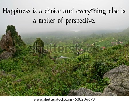 Inspirational Travel Quote Mountain Happiness Choice Stock Photo