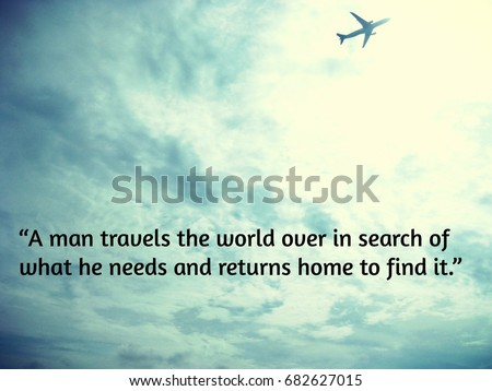 Inspirational Travel Quote Plane Sky Clouds Stock Photo Edit Now