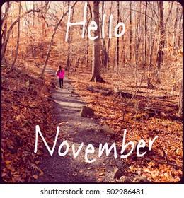 Inspirational Typographic Quote - Hello November