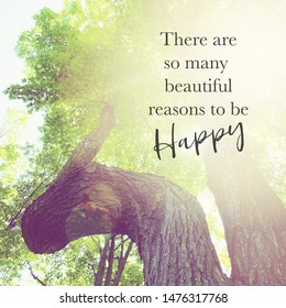 Inspirational Typographic Quote - There are so many beautiful reasons to be happy