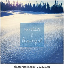 Inspirational Typographic Quote   Winter Is Beautiful