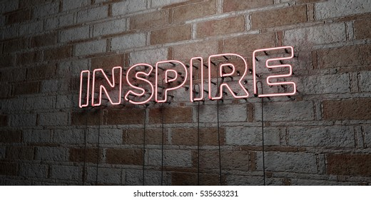 INSPIRE - Glowing Neon Sign on stonework wall - 3D rendered royalty free stock illustration.  Can be used for online banner ads and direct mailers.