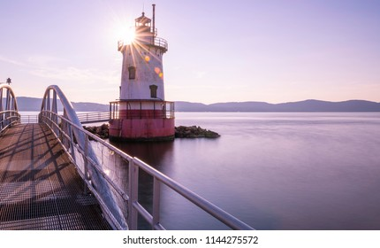 """Inspiring sunset over Sleepy Hollow Lighthouse located in New York State's Hudson Valley. Town known for the setting of Washington Irving's """"The Legend of Sleepy Hollow"""""""