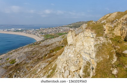 Instability and slumping in cliffs on the north west coast of the Isle of Portland, on Dorset's Jurassic Coast.