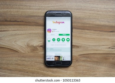 Instagram application in play store on the screen of a Samsung phone.  March 2018 in Rzeszow, Poland
