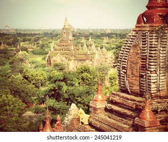 Instagram filter look from the valley of Bagan in the asian country Myanmar consists thousands of ancient temples and pagodes,