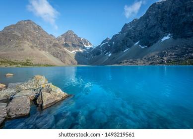 Instagram icon Blavatnet (Blåvatnet) in the Lyngen Alps in Northern Norway