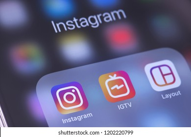 Instagram, IGTV and Layout apps icons on the screen smartphone. Instagram - free application for sharing photos and videos with the elements of a social network. Moscow, Russia - October 14, 2018