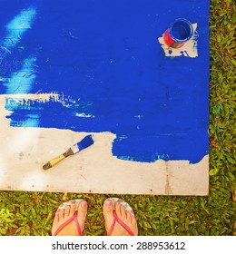 """""""instagram"""" style top view photo of unfinished painted wooden deck"""
