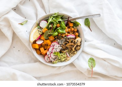 Instagram Vegan Buddha Bowl with Avocado, Mushrooms and Veggies