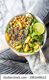 Instagram Vegan Buddha Bowl with Pesto, Mushrooms and Veggies