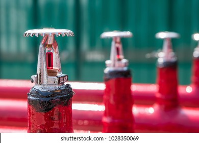 Install fire sprinkler system. In the industrial plant, pipe assembly, red fire pipe, fire protection contractors.