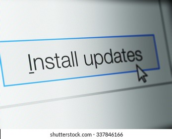 Install updates button on computer monitor screen