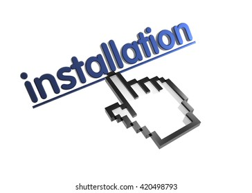 installation. 3d rendered inscription. Link and finger, pointer. Isolated on white