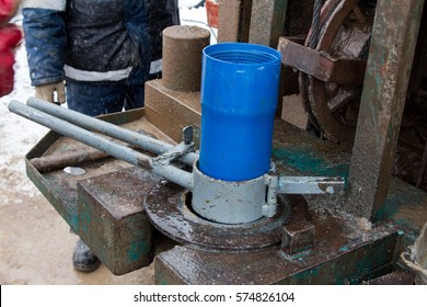 installation of casing pipe is blue plastic