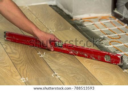 Installation Ceramic Tiles Heating Elements Warm Stock Photo Edit