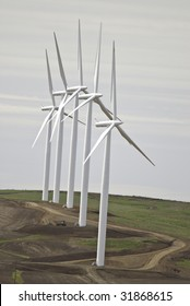The installation is complete on the five wind turbines. They are ready to generate power.