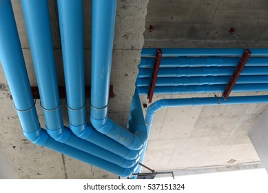 Installation of drainage pipes in the building.Sanitary system of a condominium in Thailand.
