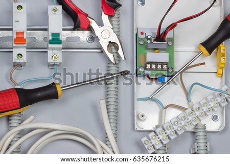 Admirable Installation Electrical Devices Wires Distribution Board Stockfoto Wiring 101 Israstreekradiomeanderfmnl