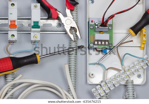 Installation Electrical Devices Wires Distribution Board Stock Photo Edit Now 635676215