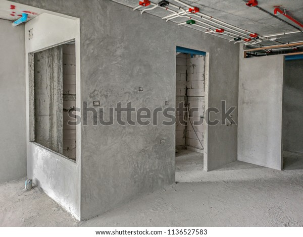 Installation Electrical Wiring On Wall Work Stock Photo ... on