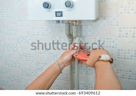 Installation Gas Boiler Man Installing Plastic Stock Photo (Edit Now ...