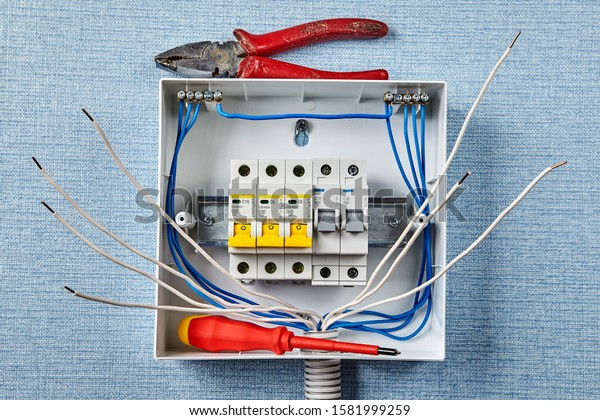 Installation Household Electrical Panel Fusebox Automatic Stock Photo Edit Now 1581999259