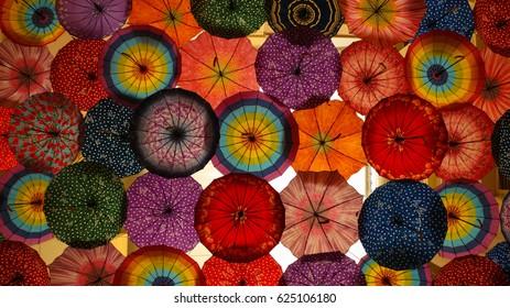 The installation of a large number of colorful umbrellas. Dubai, United Arab Emirates.