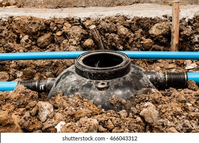 installation new black PE septic tank in construction site