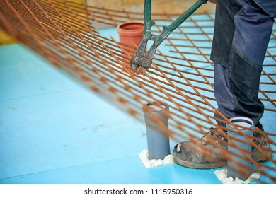 Installation of Rebar - Reinforcement Steel Bars for Beam On Site Fixing of Reinforcement - building construction