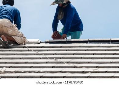 Installation roof tiles work