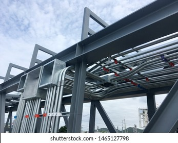 Installation square box,imc conduit for electrical system at pipe rack