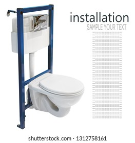 installation of the toilet and the tank for embedding in the wall isolated on white background. Text delete