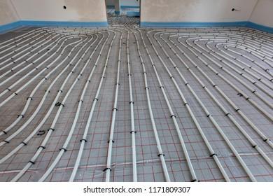 installation of underfloor heating in new built house