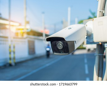 Installing CCTV on poles to check the entrance and exit safety