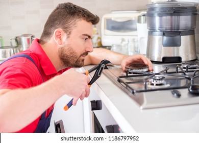 Installing a new hob in modern kitchen