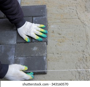 Installing paving slabs. Color photo close-up