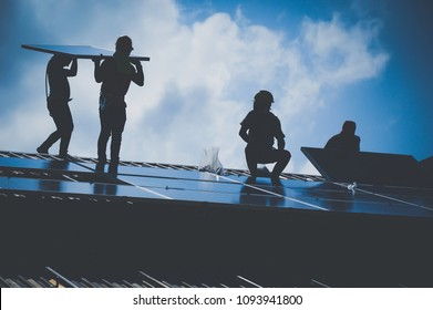 Installing a Solar Cell on a Roof, Shadow image