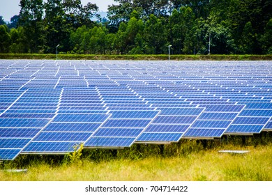Installing solar panels on solar farms to generate electricity in sunlight. soft and select focus.