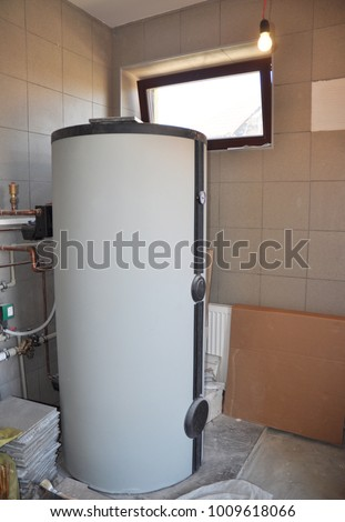 Installing Solar Water Tank Boiler Room Stock Photo (Edit Now ...