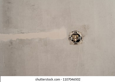Installing of wall electrical outlet