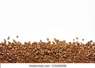 instant coffee isolated on white background, granulated coffee texture, instant granulated coffee close up