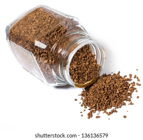 Instant coffee poured about banks. Instant coffee on a white background close-up.