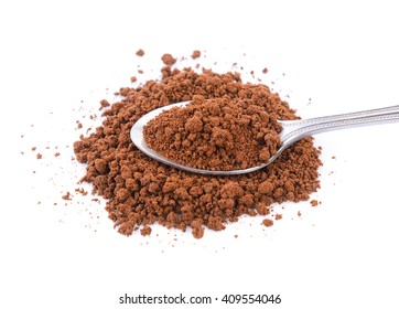 instant coffee in the spoon on white background