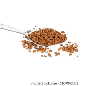 Instant granulated coffee on white background