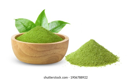 instant matcha green tea in wood bowl on white background