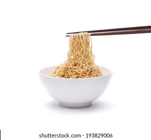 Instant noodle in a bowl with chopstick isolated on white background